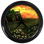 Eddie s Sunset Wall Clock (Black)