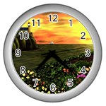 Eddie s Sunset Wall Clock (Silver)
