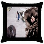 Eskimo Scene Throw Pillow Case (Black)