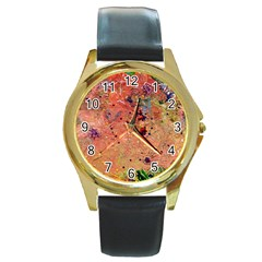 Diversity Black Leather Gold Rim Watch (round)