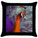 Peacock Psychedelic Orange & Purple Throw Pillow Case (Black)