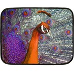 Peacock Psychedelic Orange & Purple Mini Fleece Blanket(Two Sides)
