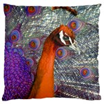 Peacock Psychedelic Orange & Purple Large Cushion Case (One Side)