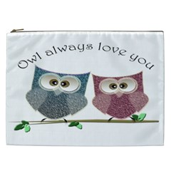 Owl Always Love You, Cute Owls Cosmetic Bag (xxl) by DigitalArtDesgins