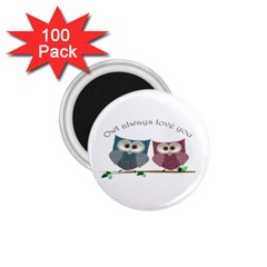 Owl Always Love You, Cute Owls 100 Pack Small Magnet (round)