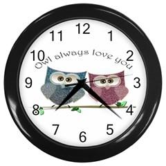 Owl Always Love You, Cute Owls Black Wall Clock