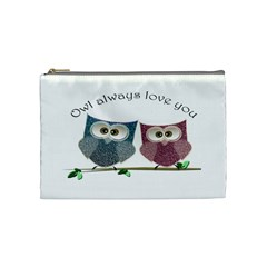 Owl Always Love You, Cute Owls Medium Makeup Purse by DigitalArtDesgins