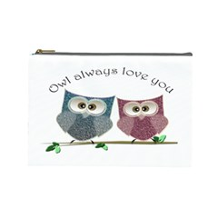Owl Always Love You, Cute Owls Large Makeup Purse by DigitalArtDesgins
