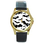 Deathrock Bats Round Gold Metal Watch
