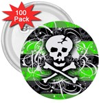 Deathrock Skull 3  Button (100 pack)