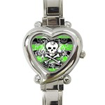 Deathrock Skull Heart Italian Charm Watch