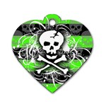 Deathrock Skull Dog Tag Heart (One Side)