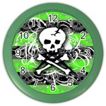 Deathrock Skull Color Wall Clock