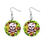 Deathrock Skull & Crossbones 1  Button Earrings