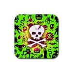 Deathrock Skull & Crossbones Rubber Coaster (Square)