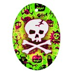 Deathrock Skull & Crossbones Oval Ornament (Two Sides)