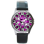 Emo Scene Girl Skull Round Metal Watch