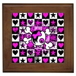 Emo Scene Girl Skull Framed Tile