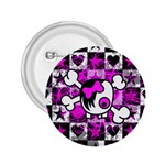 Emo Scene Girl Skull 2.25  Button