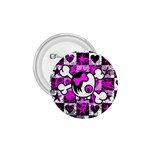 Emo Scene Girl Skull 1.75  Button
