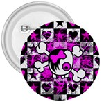 Emo Scene Girl Skull 3  Button