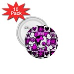 Emo Scene Girl Skull 1.75  Button (10 pack)