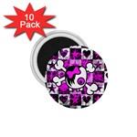 Emo Scene Girl Skull 1.75  Magnet (10 pack)