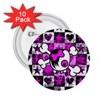 Emo Scene Girl Skull 2.25  Button (10 pack)