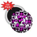 Emo Scene Girl Skull 2.25  Magnet (100 pack)