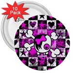 Emo Scene Girl Skull 3  Button (10 pack)