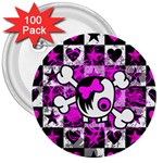Emo Scene Girl Skull 3  Button (100 pack)