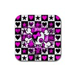 Emo Scene Girl Skull Rubber Square Coaster (4 pack)