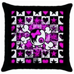 Emo Scene Girl Skull Throw Pillow Case (Black)