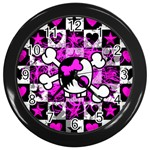 Emo Scene Girl Skull Wall Clock (Black)