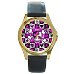 Emo Scene Girl Skull Round Gold Metal Watch
