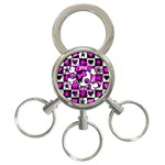 Emo Scene Girl Skull 3-Ring Key Chain