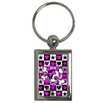 Emo Scene Girl Skull Key Chain (Rectangle)