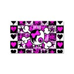 Emo Scene Girl Skull Sticker Rectangular (100 pack)