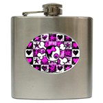 Emo Scene Girl Skull Hip Flask (6 oz)