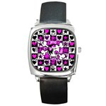 Emo Scene Girl Skull Square Metal Watch