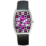 Emo Scene Girl Skull Barrel Style Metal Watch