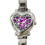 Emo Scene Girl Skull Heart Italian Charm Watch