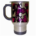 Emo Scene Girl Skull Travel Mug (Silver Gray)