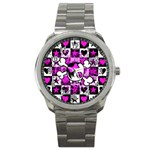 Emo Scene Girl Skull Sport Metal Watch