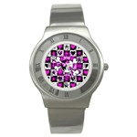 Emo Scene Girl Skull Stainless Steel Watch