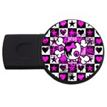 Emo Scene Girl Skull USB Flash Drive Round (4 GB)