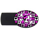 Emo Scene Girl Skull USB Flash Drive Oval (4 GB)