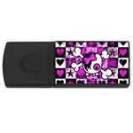 Emo Scene Girl Skull USB Flash Drive Rectangular (4 GB)