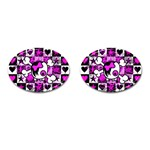 Emo Scene Girl Skull Cufflinks (Oval)