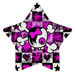 Emo Scene Girl Skull Star Ornament (Two Sides)
